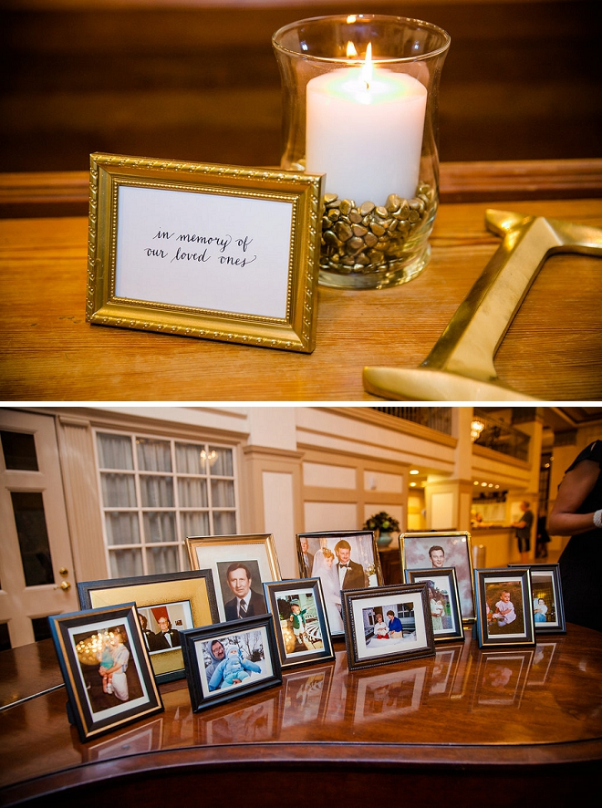 Such a sweet idea! A memory candle and photos at their reception!