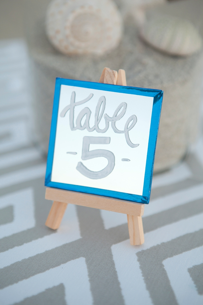 How to make the most darling mini-mirror and easel table numbers!