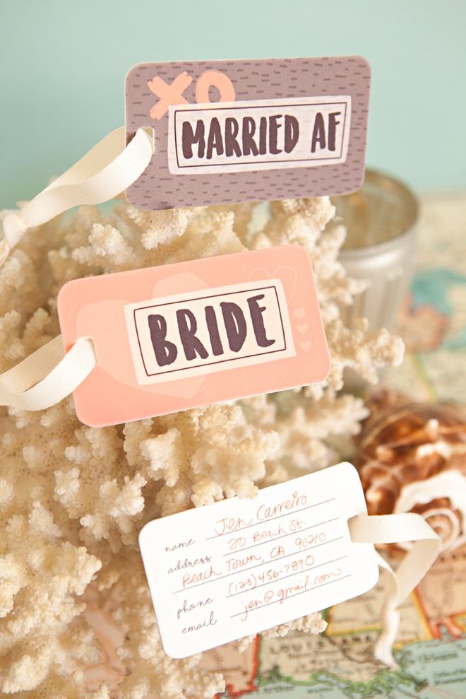 Adorable free printable Married AF, shrinky dink luggage tags!