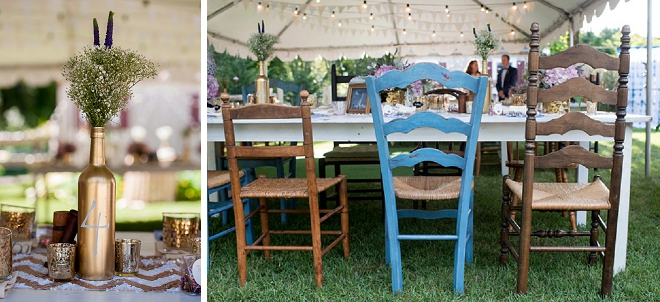 Loving this couple's collection of gorgeous vintage chairs for their backyard reception!
