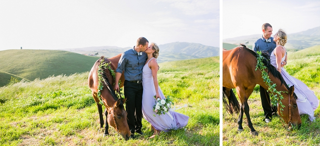 We're swooning over this romantic mountainside engagement session featuring their horse!