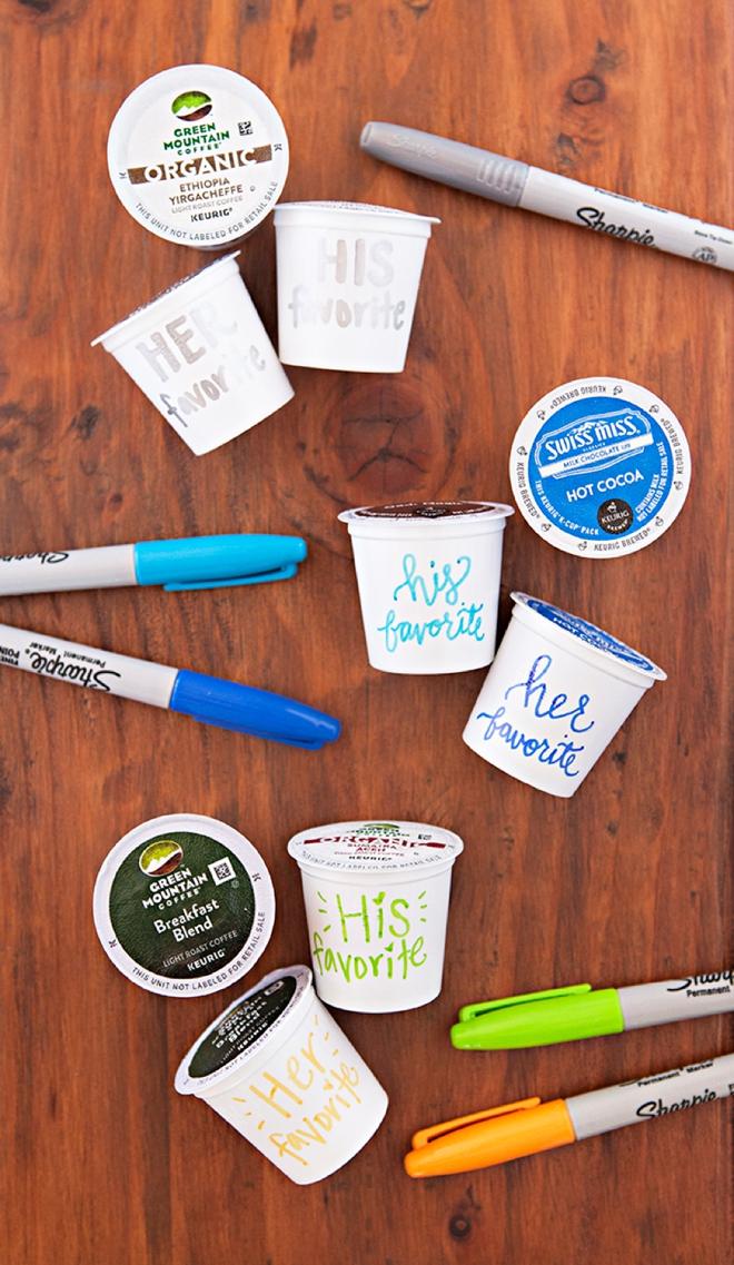 Personalize K-cups using Sharpies! Genius!