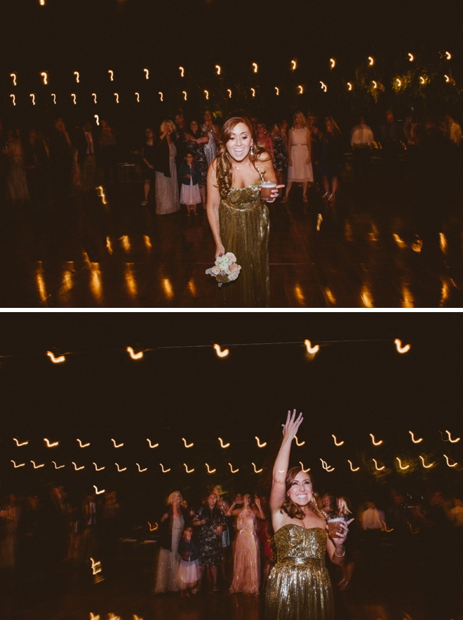The darling bride tossing her bouquet in a very sparkly dress!