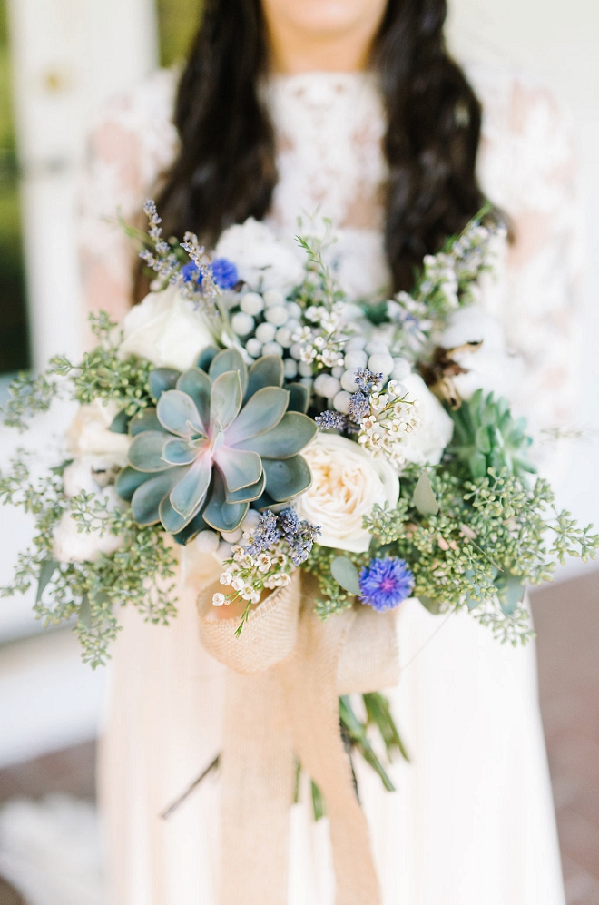 We're crushing on this dreamy Bride and her succulent boho bouquet!!