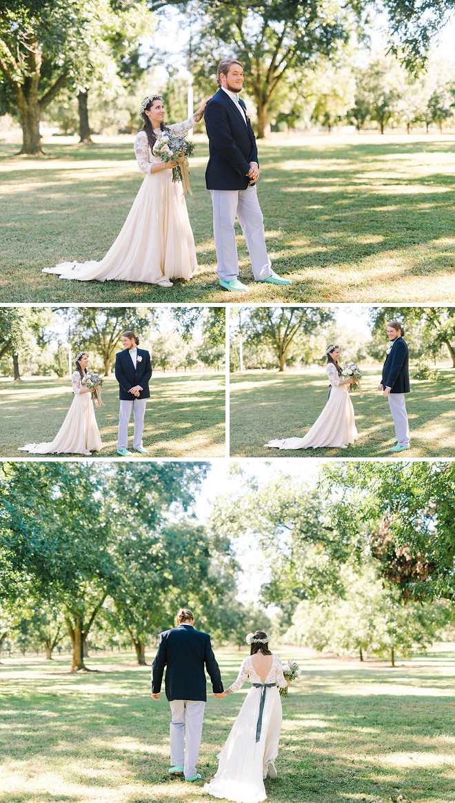 We love this gorgeous couple's fun first look before their boho ceremony!