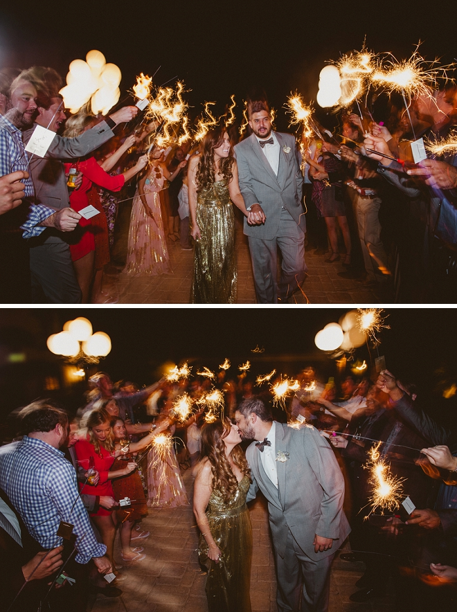 Loving this Bride's reception dress and sparkler exit at this gorgeous Palm Springs wedding!