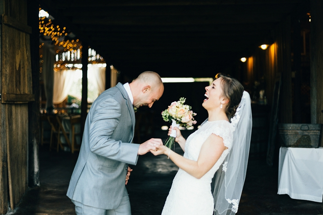 We LOVE this fun couple and this shot after tying the knot!
