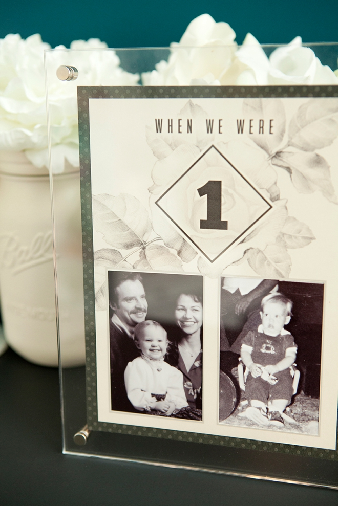 Free printable table numbers that hold a photo of the bride and groom at each age!