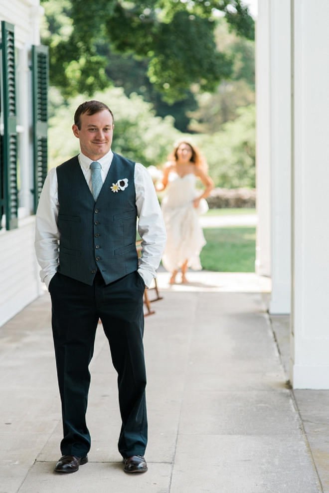 We're crushing on the Bride and Groom's first look! So Sweet!