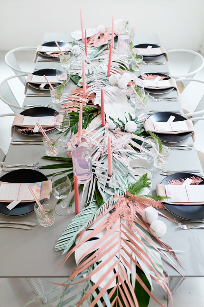 a colored leaf runner adds whimsy!