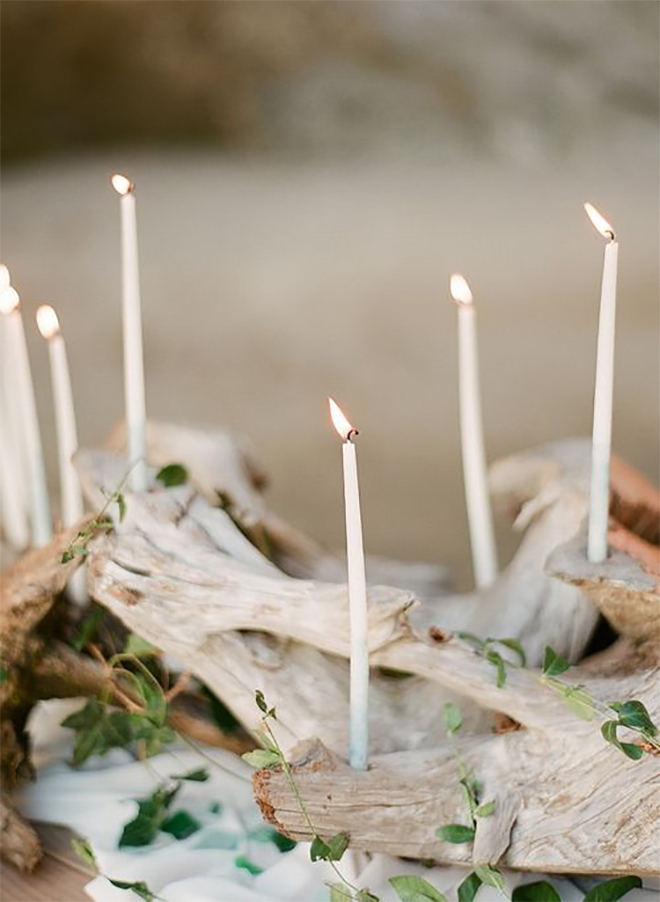 for a natural floral alternative, try driftwood with candles.