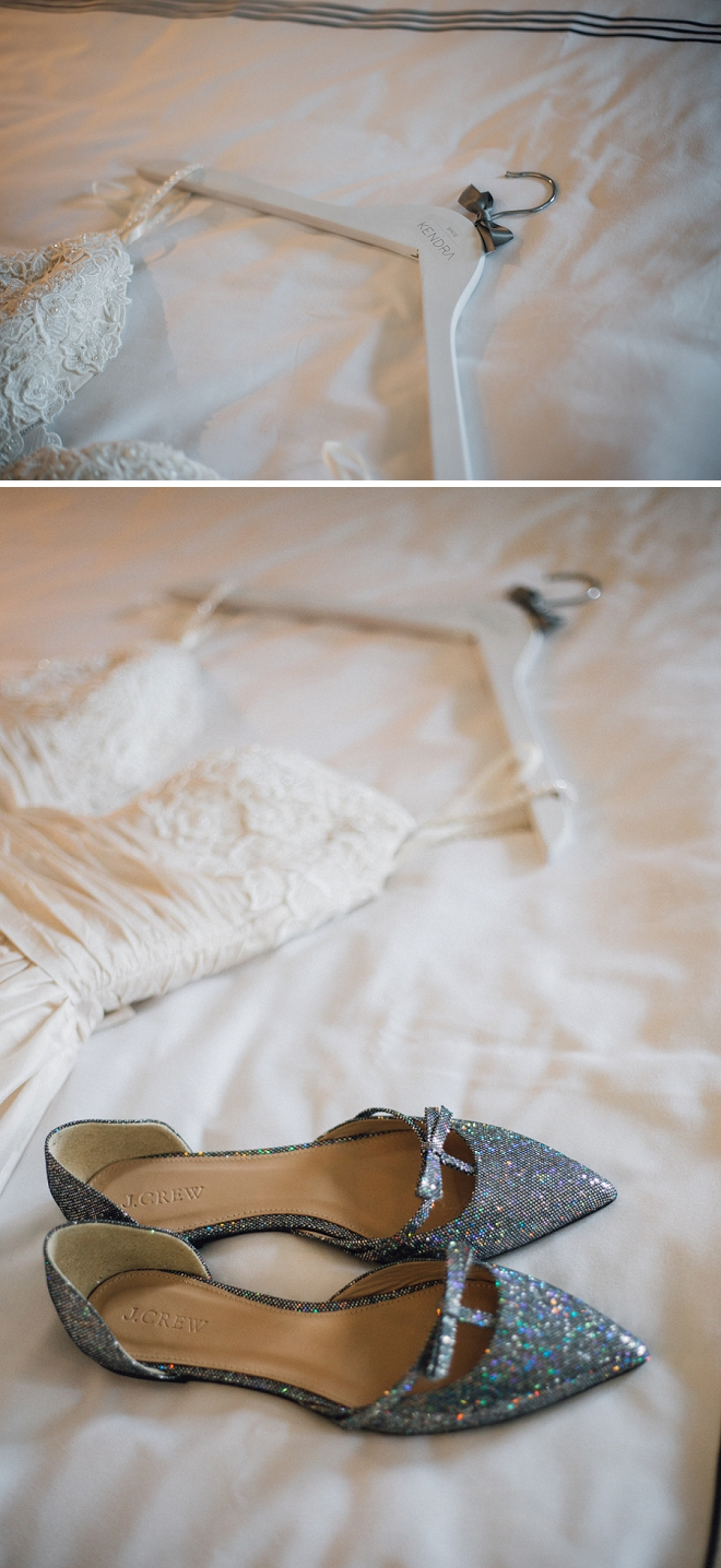In love with this stunning wedding dress and fun wedding shoes!