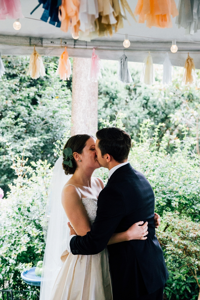 First kiss for the gorgeous Mr. and Mrs!
