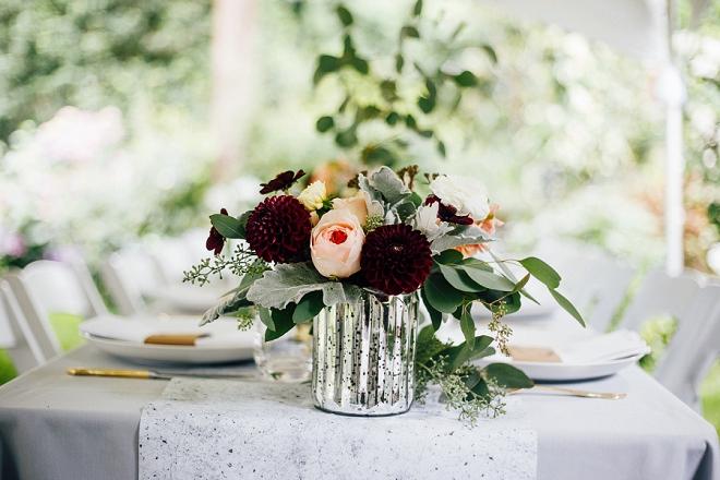 Crushing on the amazing flowers at this intimate backyard wedding!