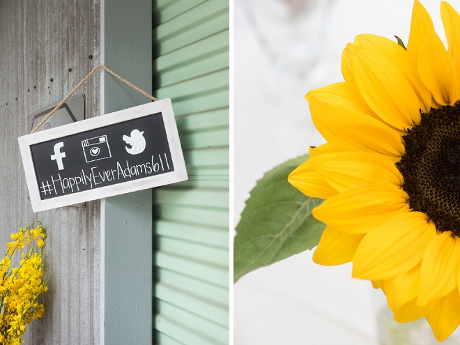We love the darling rustic touches and Instagram sign at this stunning wedding!