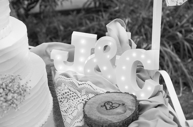 We love all of the monogrammed touches at this rustic DIY wedding!