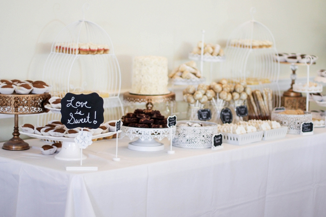 Loving this couple's gorgeous and delicious wedding dessert bar!