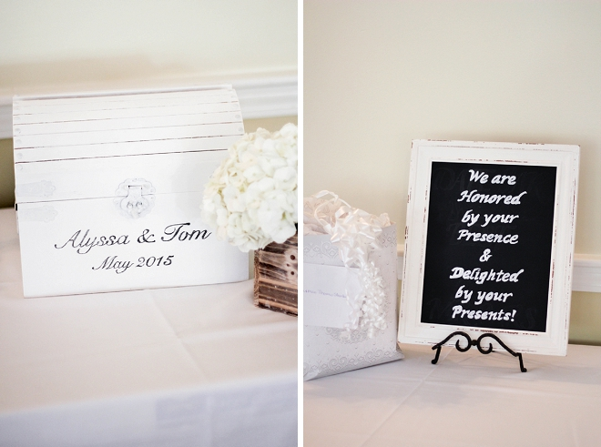 We're loving this couple's fun sign and reception for wedding gifts!