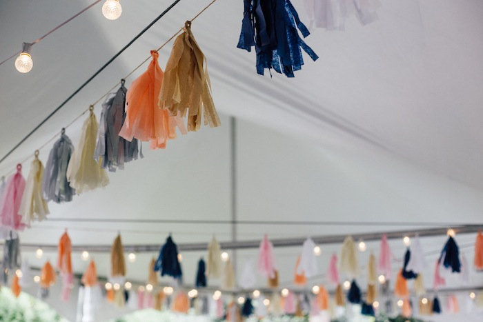 Navy blue, peach, tan, pink, white, and silver tissue paper wedding tassels. LOVE THESE!