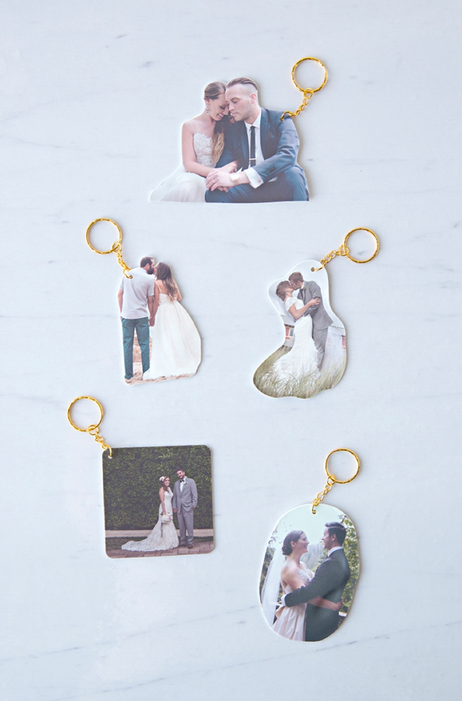 Learn how to make the most adorable wedding photo shrinky-dink keychains!