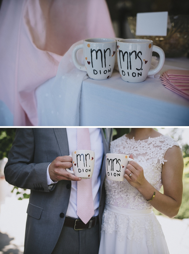 We love these cute Mr. and Mrs. mugs the Bride and Groom used at their intimate garden reception!