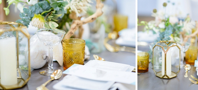 We can't get over this stunning styled coastal wedding and table decor details!