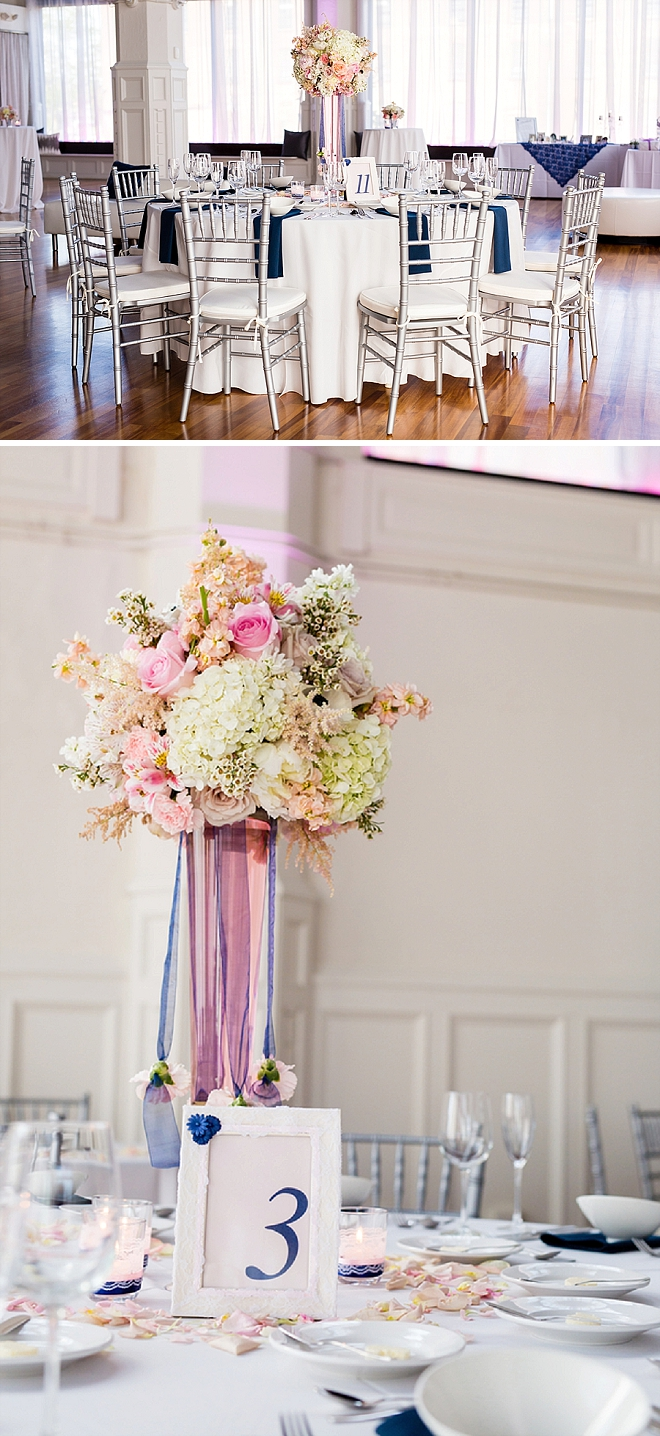 We love the dreamy table decor and centerpieces at this reception!