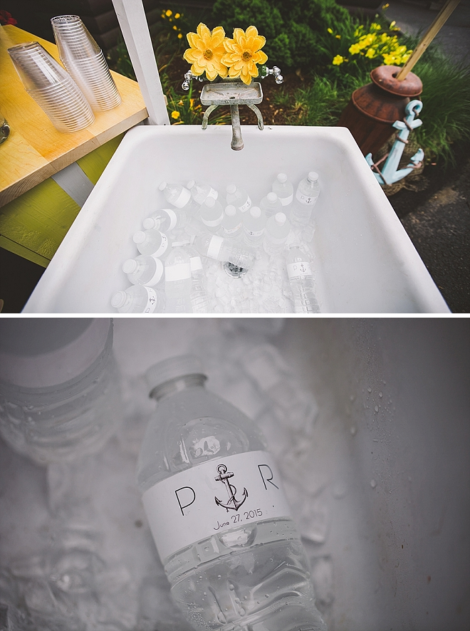 We love this bathtub full of monogrammed water at the reception!