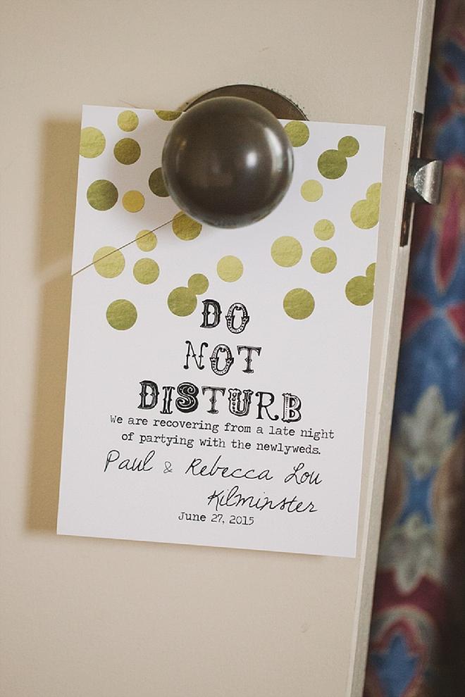 We're in LOVE with these handmade Do Not Disturb door hangers the Bride made!