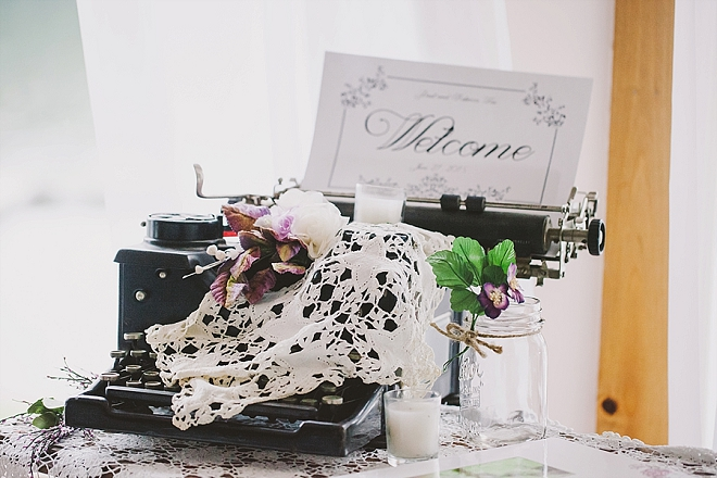 Darling welcome table at this gorgeous lakeside wedding!