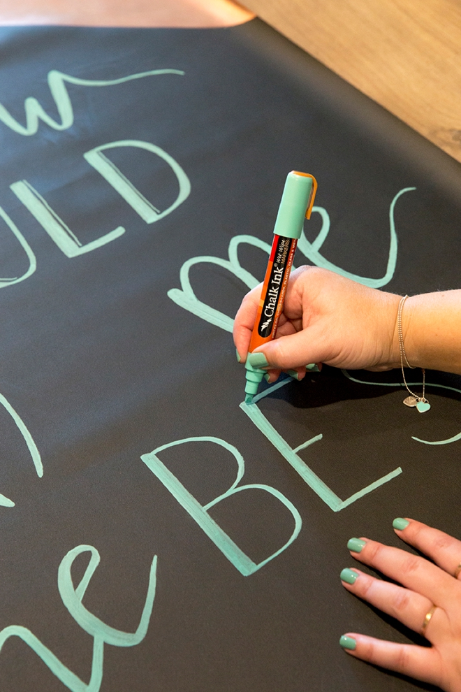 We're using the NEW Something Turquoise Chalk Ink Markers on this giant chalkboard sign!