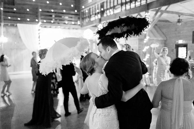 How better to end this Louisiania wedding than umbrellas and a march?!