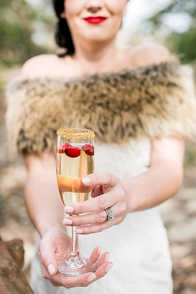 We love this champagne snap of the Bride at this stunning Snow White styled wedding!
