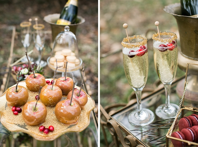 We love this gorgeous dessert bar with candy apples and champagne!