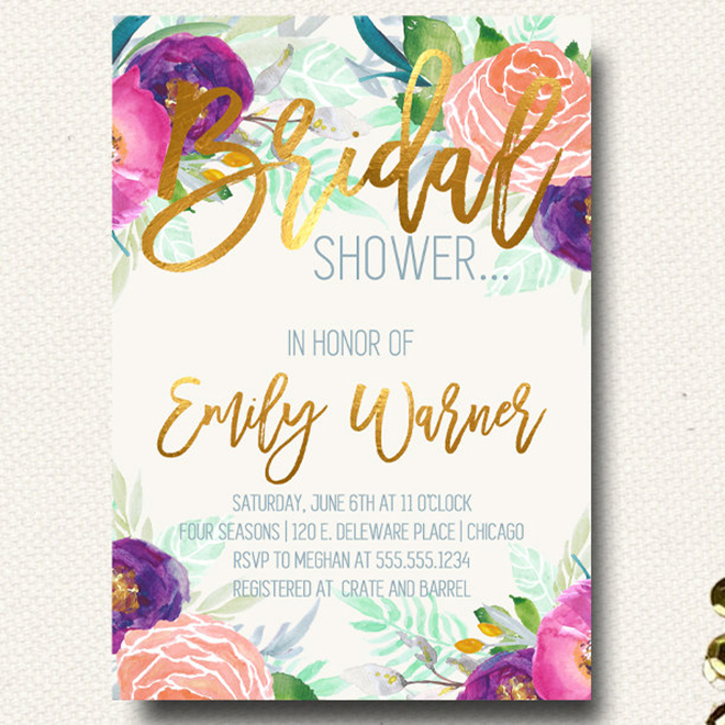 Gorgeous floral and gold foil bridal shower invitation by Design On Paper!