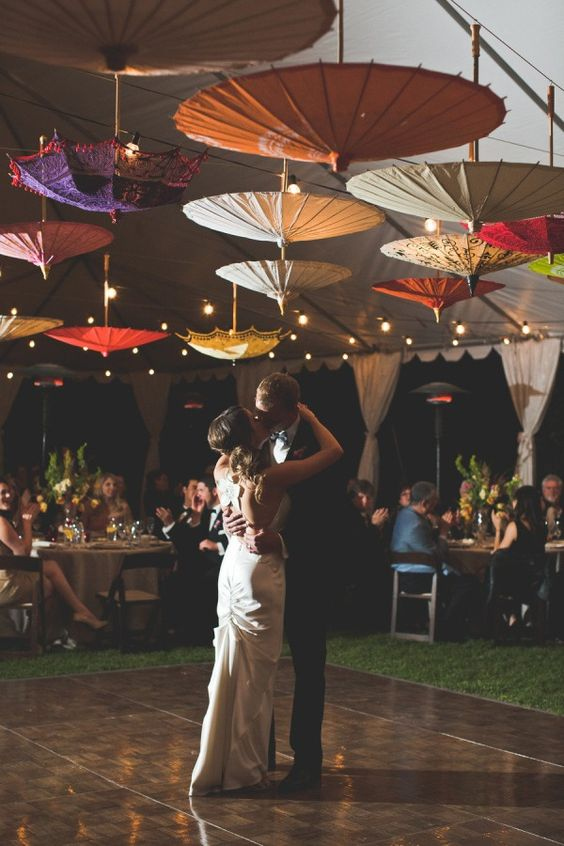 Parasols on the ceiling!  Such a fun idea!
