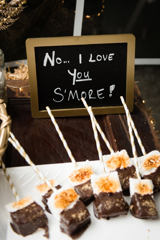 Cute smore dessert bar at this couple's darling reception!