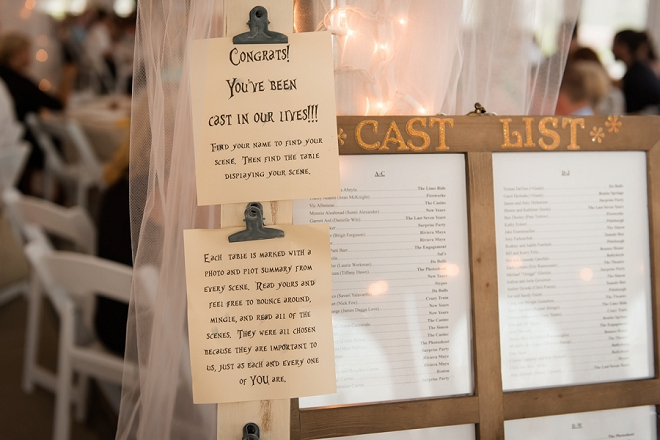 How cute is this theater Bride's cast list for this couple's escort cards? Love it!