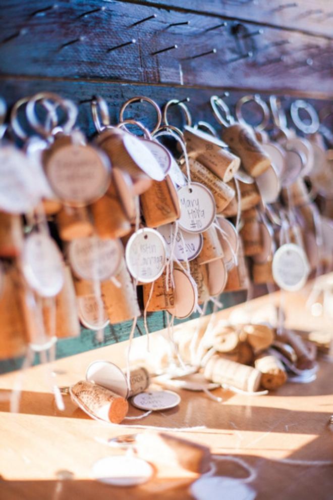 We love this couples wine cork escort card idea!