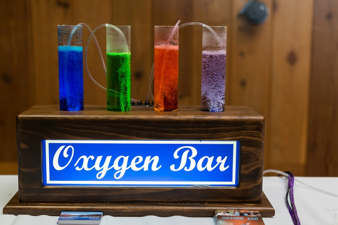 What a great idea to have an oxygen bar at this couple's Denver wedding!