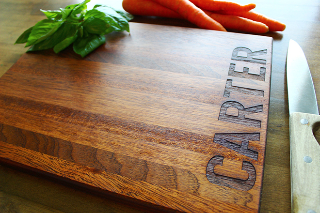 Personalized cutting board from Sugar Tree Gallery