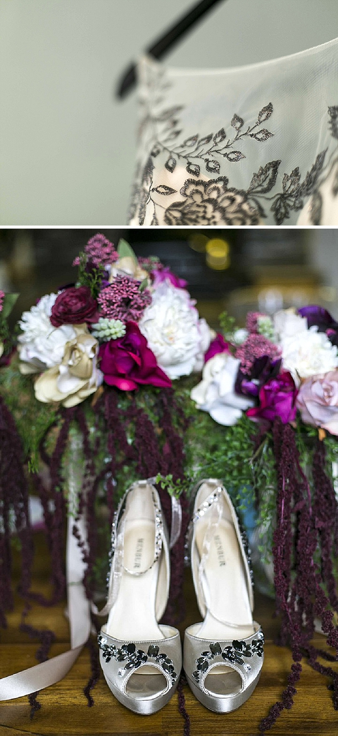 Gorgeous wedding day detail shots of the Bride's dress and shoes!