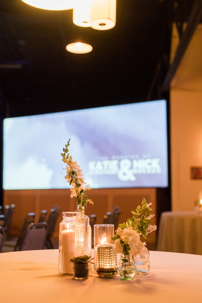 We love the simplistic centerpieces at this hanmade industrial wedding!