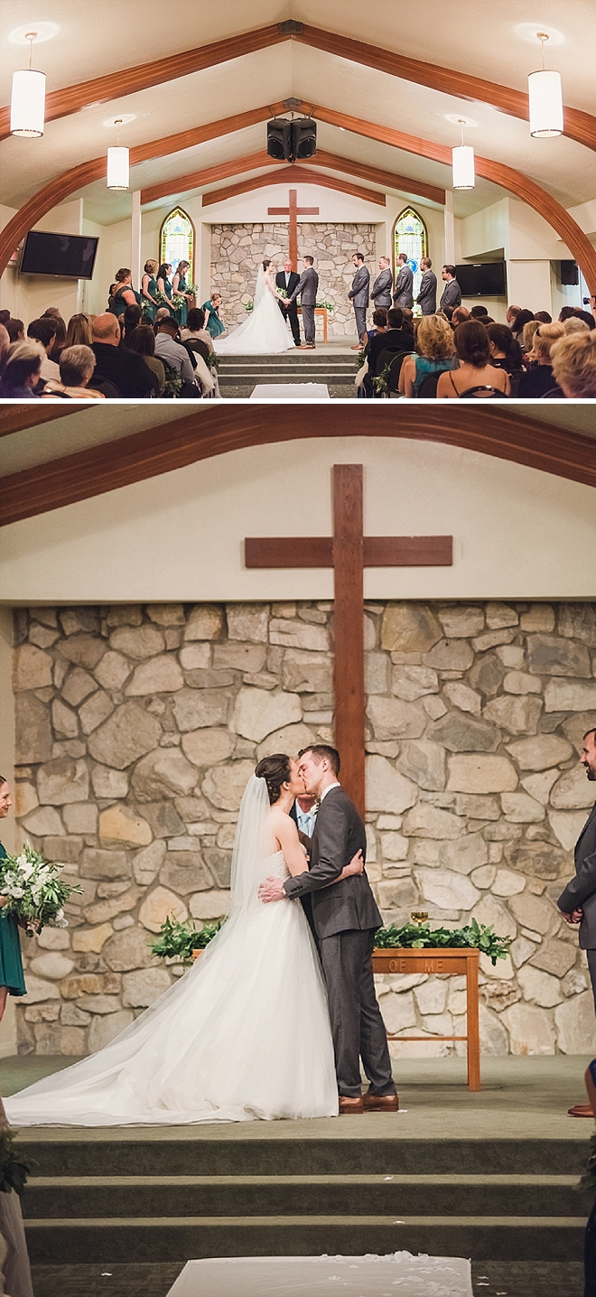 First kiss as Mr and Mrs!