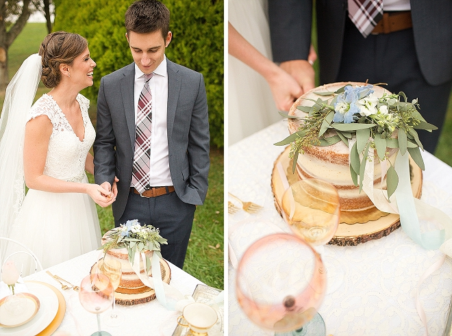 The Mr. and Mrs. cutting the cut cake!