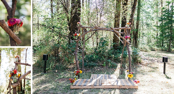 Check out this gorgeous forest ceremony alter!