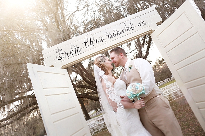 Crushing on this darling couple at their stunning rustic barn wedding!