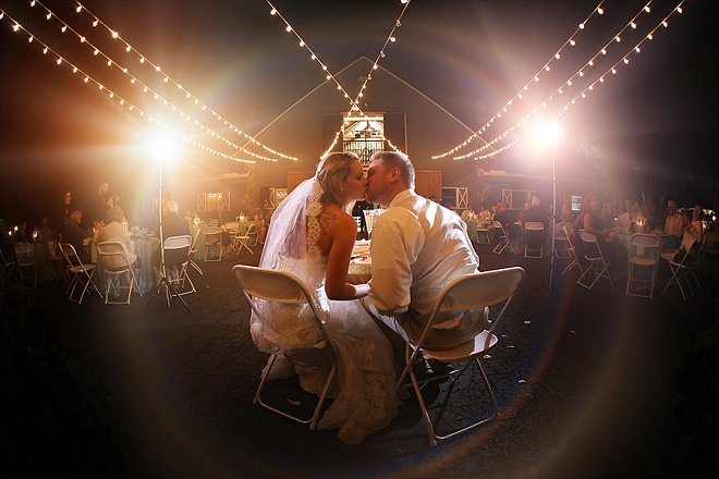 Such a gorgeous snap of the Bride and Groom at their romantic twinkle lit reception!