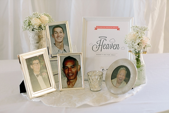 Sweet memory table at this couple's stunning reception.