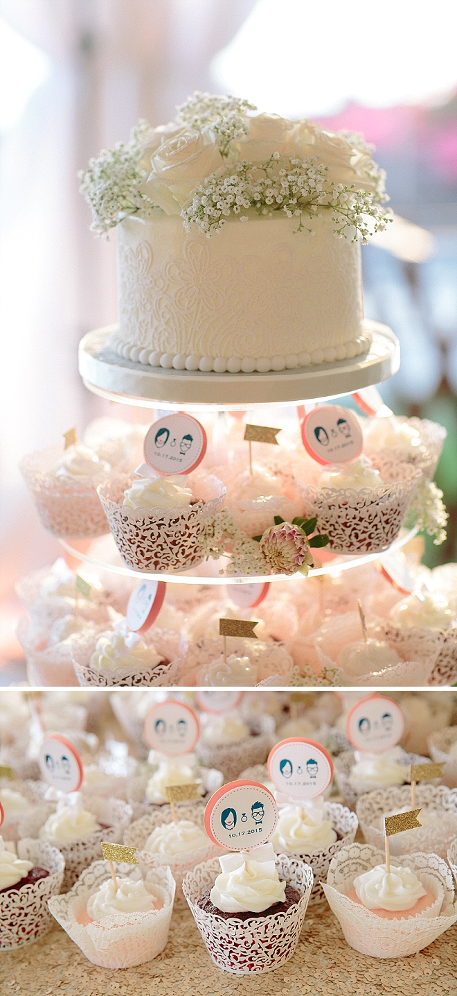 We love this stunning cut cake and customized cupcakes at this couple's gorgeous reception!